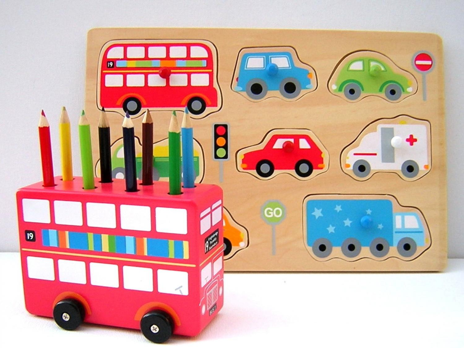 Red Bus Crayon Holder
