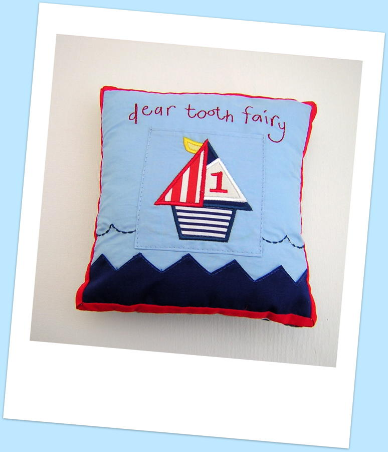 Sailboat Tooth Fairy Cushion
