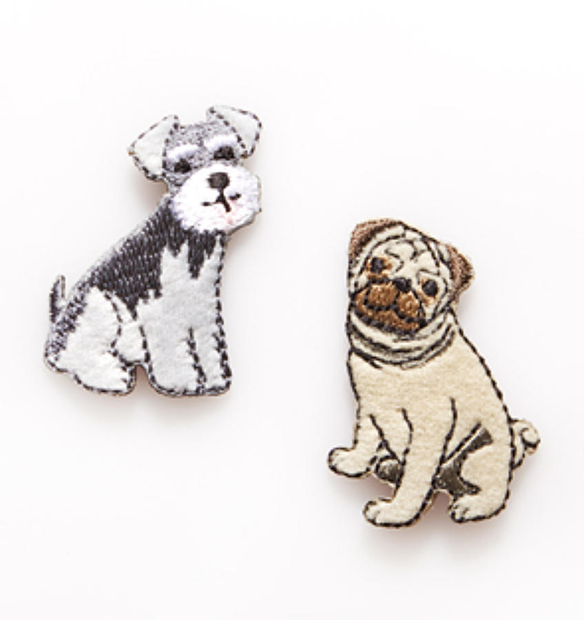 Schnauzer and Pug Iron-On Patches