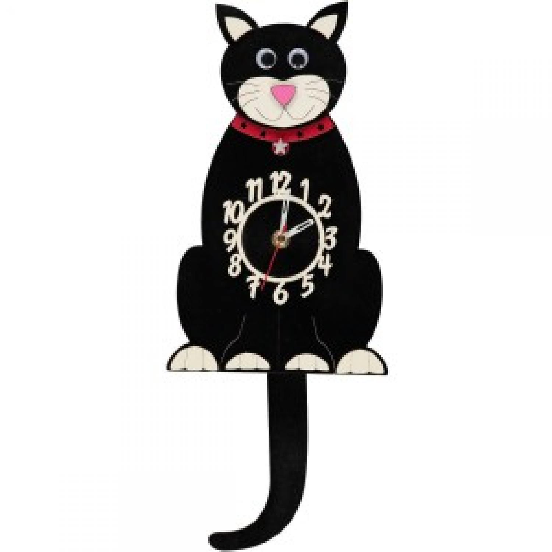 Lucky Black Cat Pendulum Clock