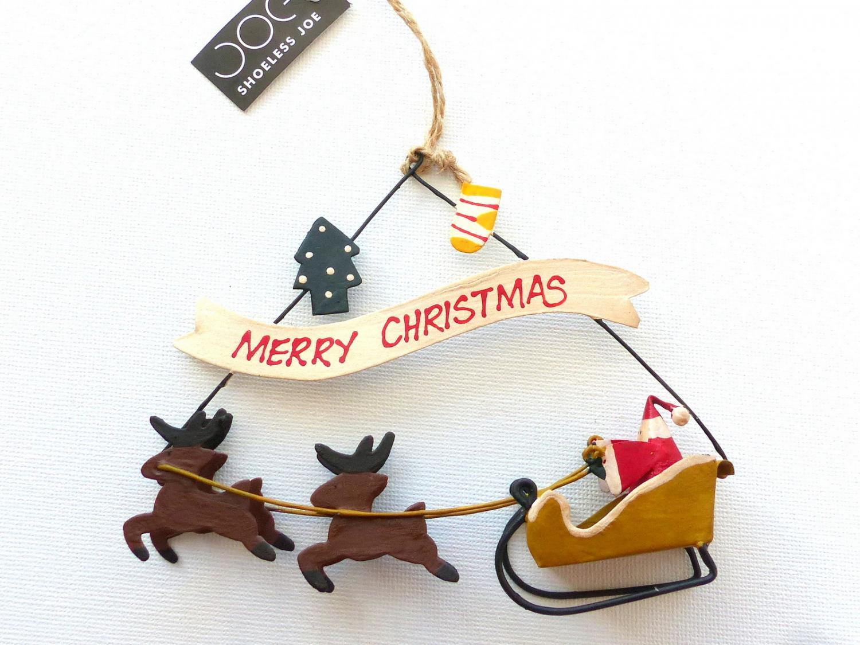 Santa on Sleigh Tin Christmas Decoration