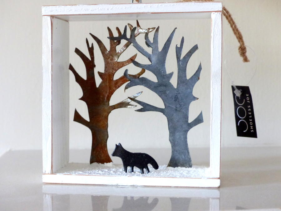 Snowy Fox in Shadow Box