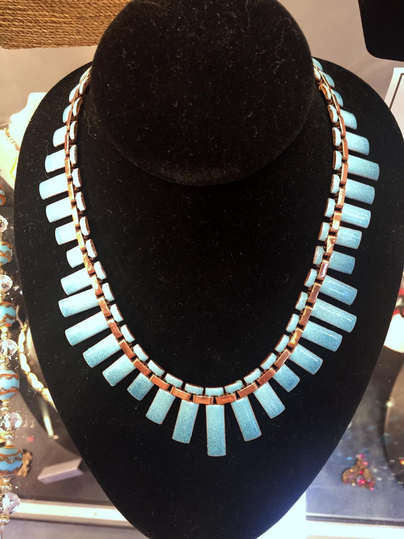 Renoir Blue Copper Enamel Necklace
