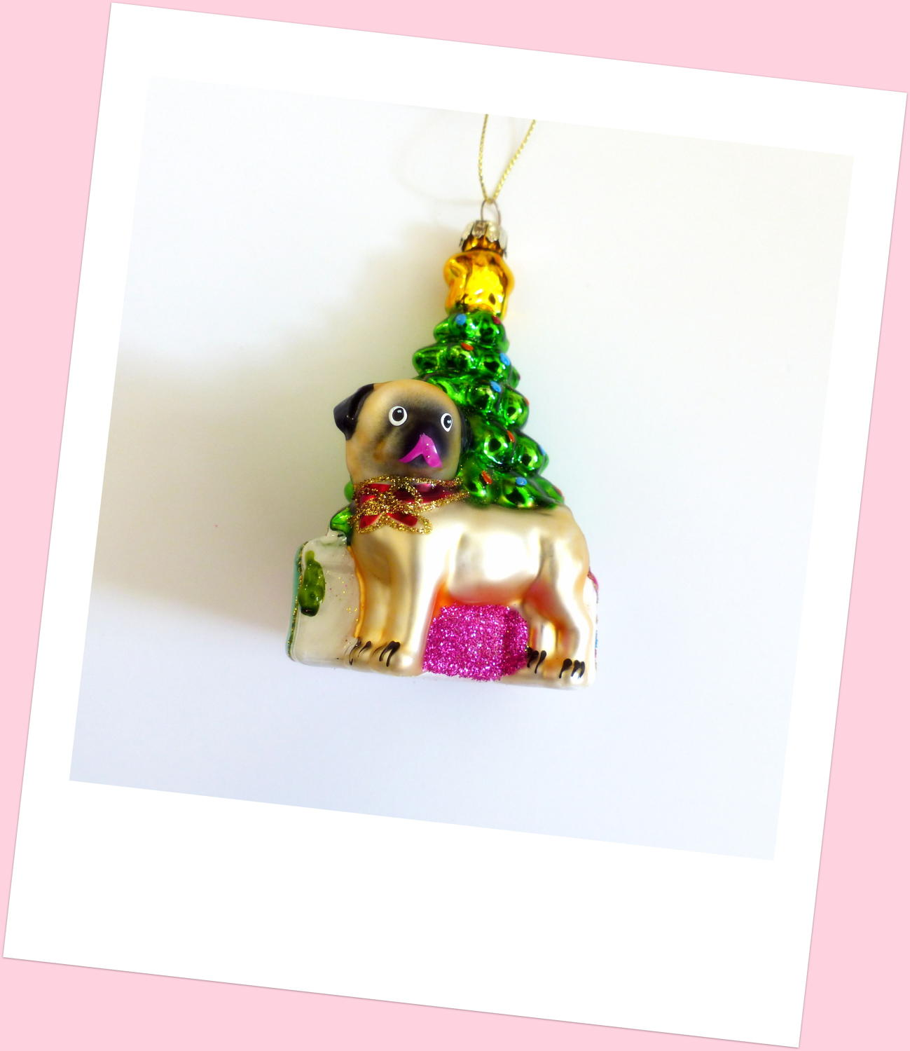 Pug Under the Christmas Tree Decoration