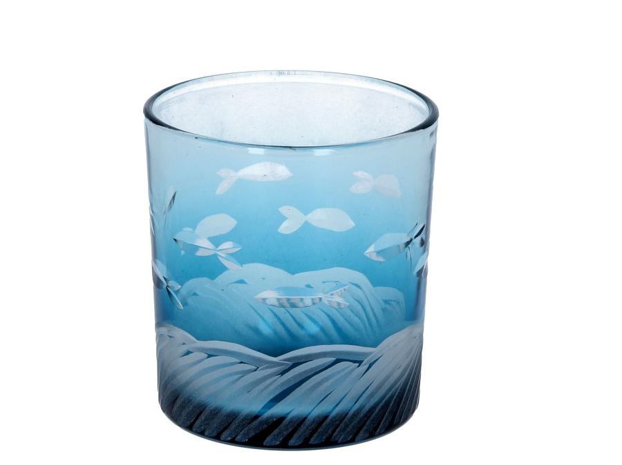 Blue Etched Glass Fish Tealight