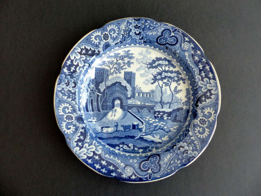 Blue and White Cabinet Plate 'Spode Castle'