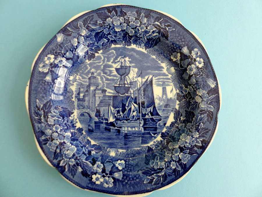Wedgwood Sailing Boat Blue and White Cabinet Plate