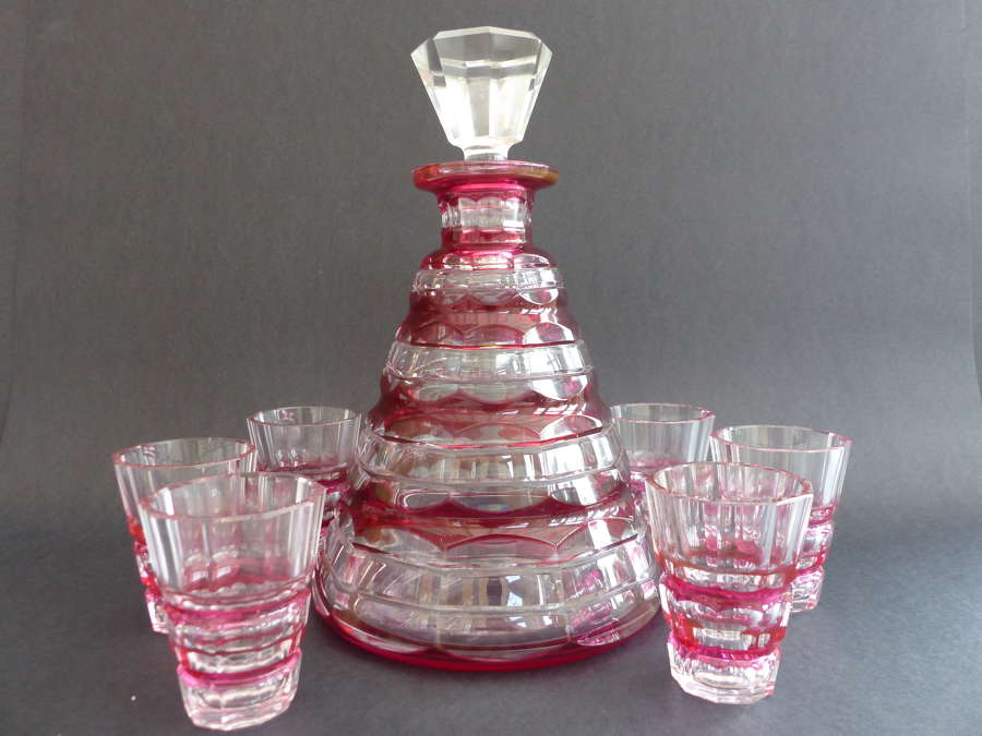 Art Deco Cranberry Decanter and Glasses