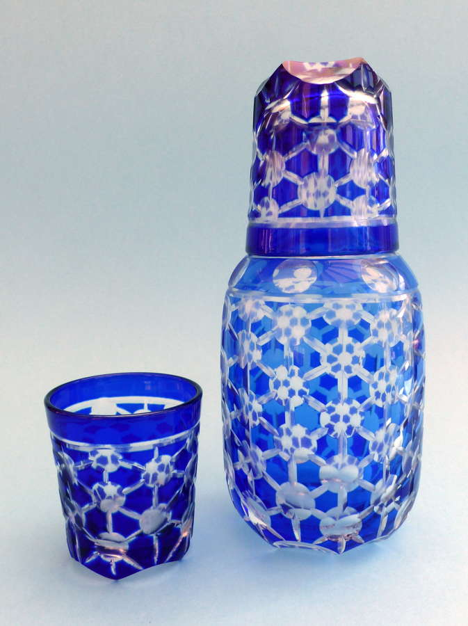 Cut Glass Blue Carafe and Tumblers