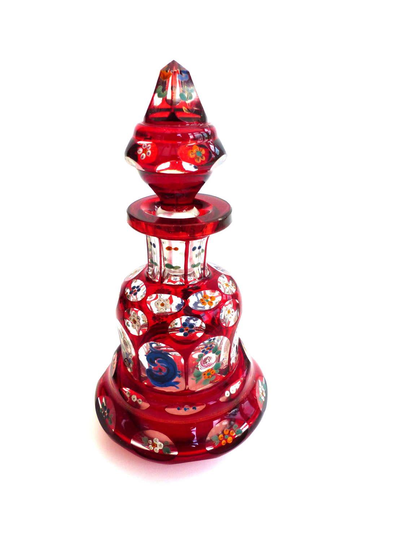 Cranberry Enamelled Glass Scent Bottle