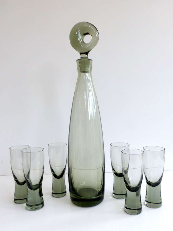 Holmegaard Aristocrat Decanter with Six Glasses