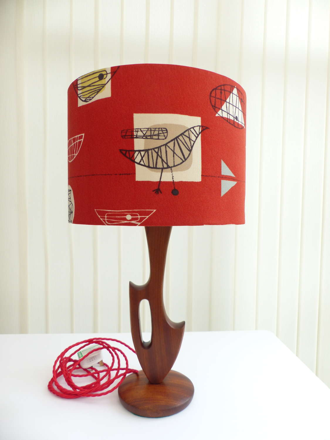 Vintage Teak Table Lamp with Contemporary Shade
