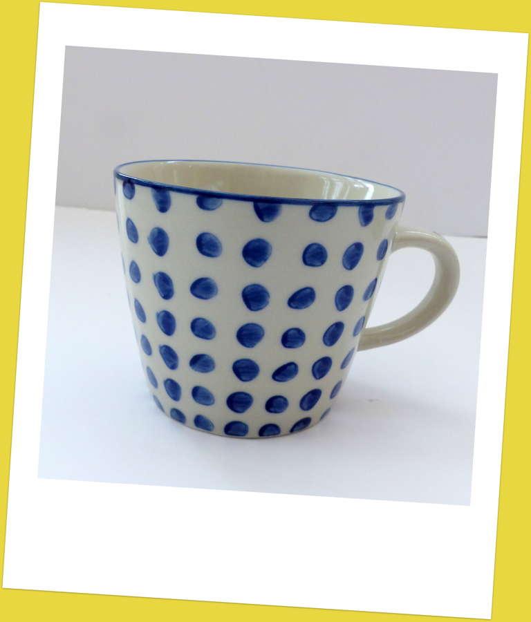 Gisela Graham Blue Spot Mug