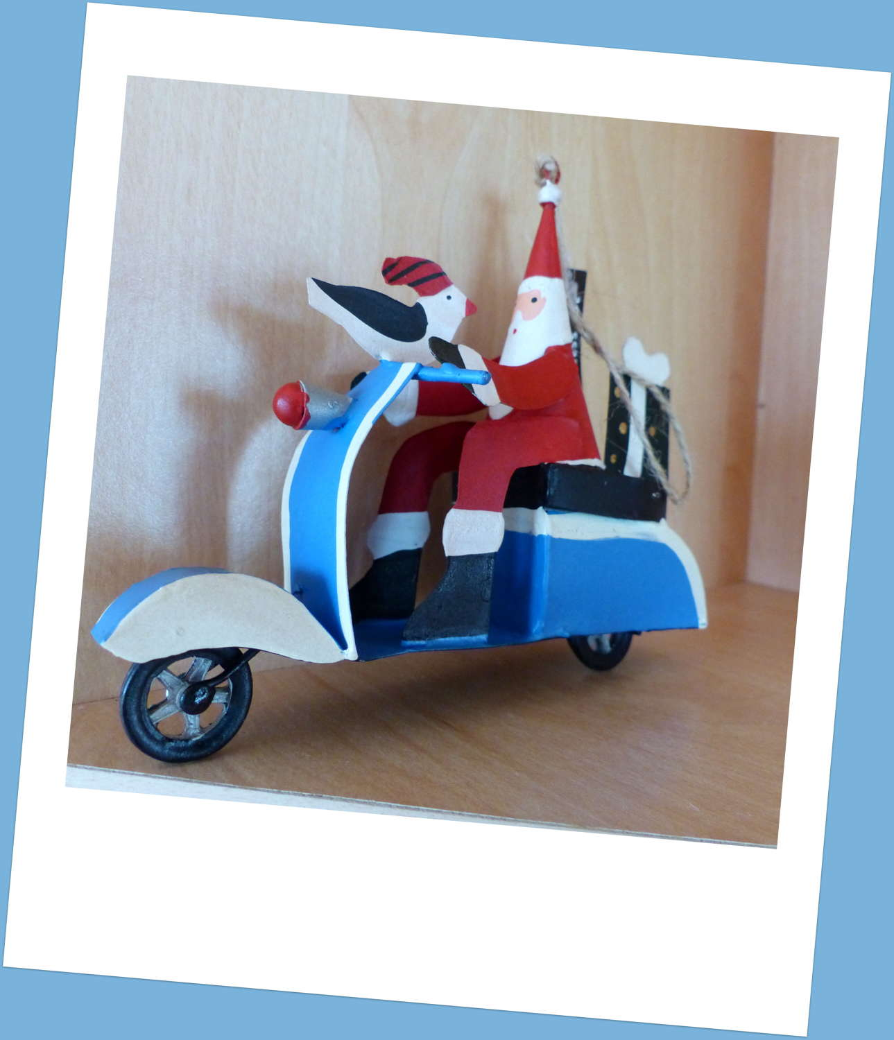 Santa on a Scooter Christmas Decoration