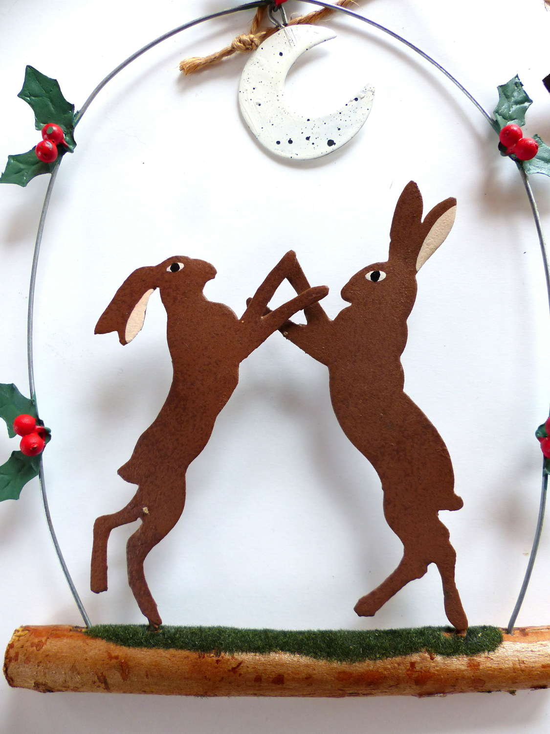 Shoeless Joe Boxing Hares Decoration