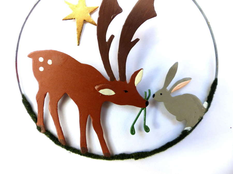Shoeless Joe Deer and Hare Tree Decoration